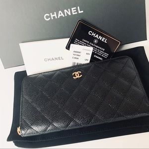 Chanel Black Quilted Large Gusset Zip Wallet